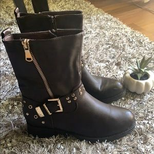 Shoes - Faux Leather Brown and gold studded boots